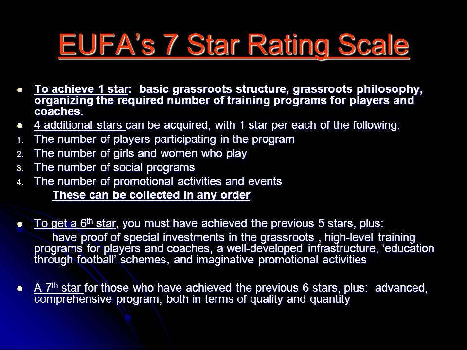 EUFA's 7 Star Rating Scale