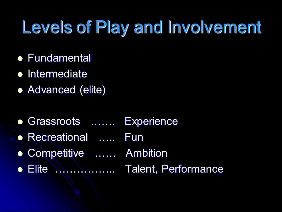 Levels of Play and Involvement