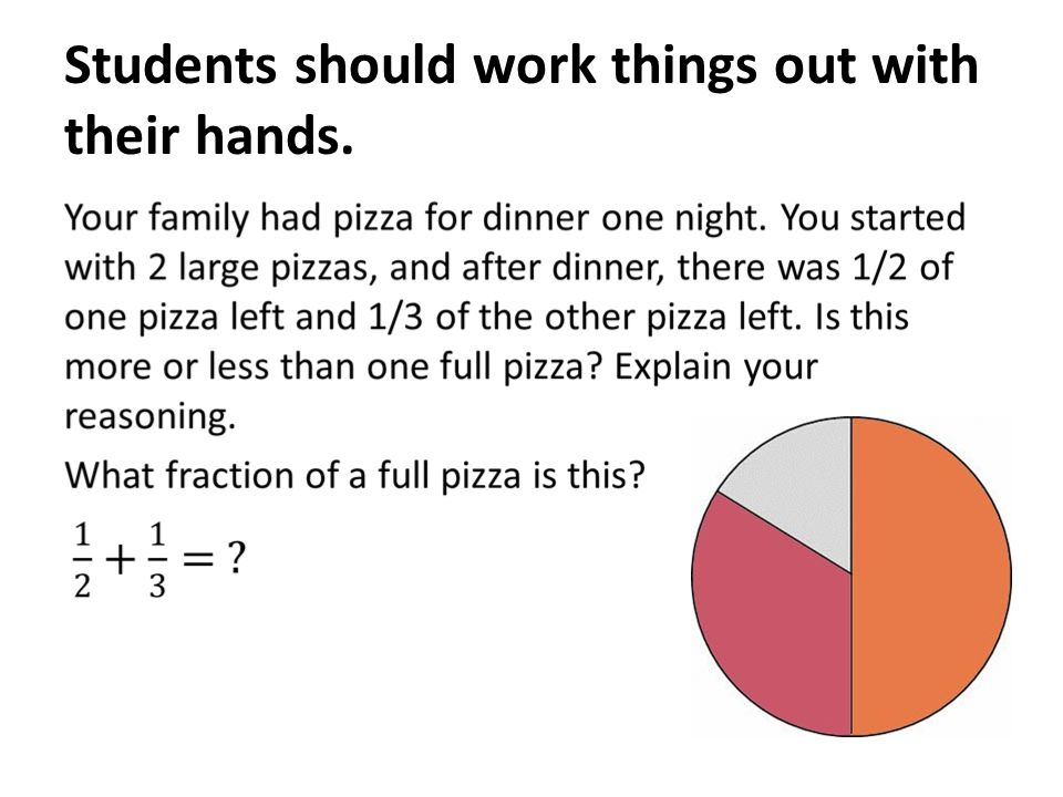 Students should work things out with their hands.