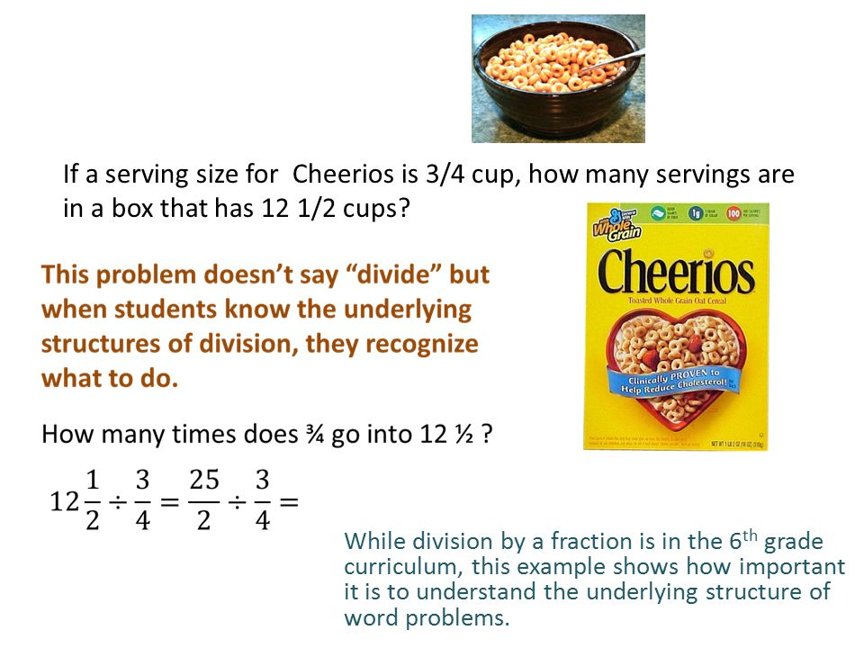 If a serving size for Cheerios is 3/4 cup, how many servings are in a box that has 12 1/2 cups