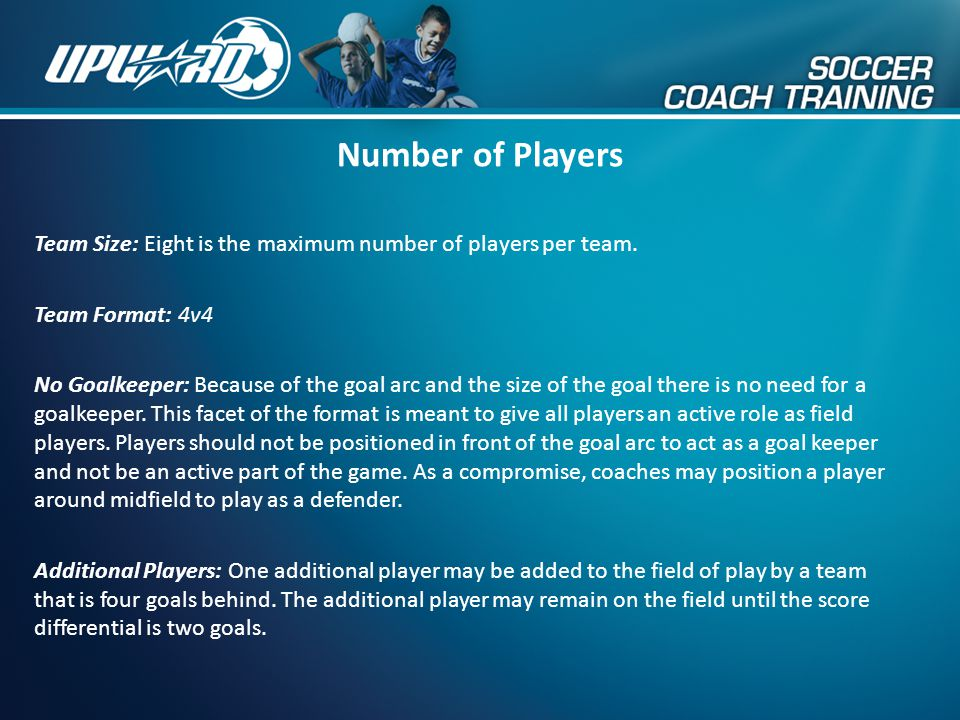 Number of Players Team Size: Eight is the maximum number of players per team. Team Format: 4v4.