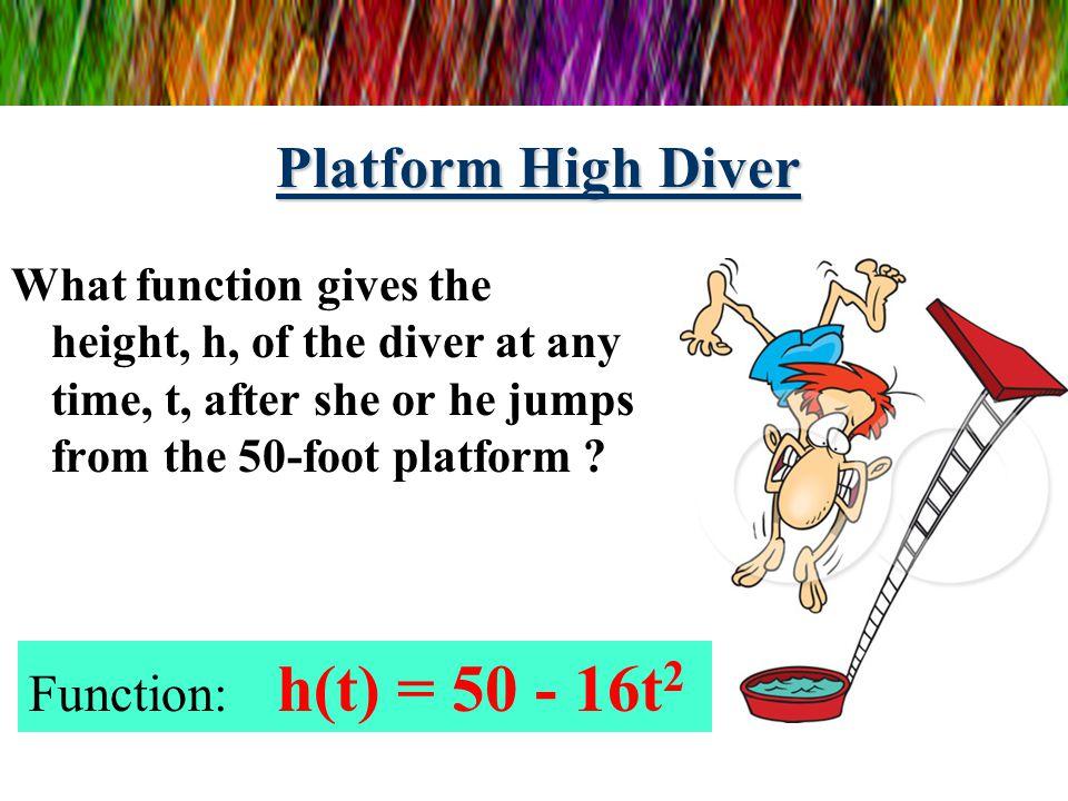 Platform High Diver Function: h(t) = 50 - 16t2