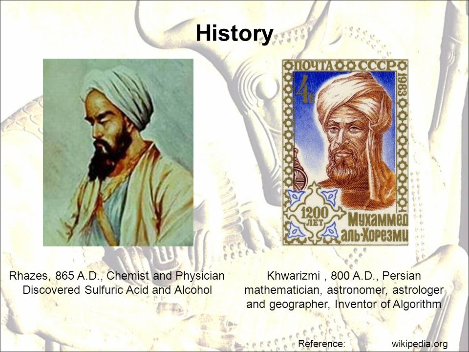 History Rhazes, 865 A.D., Chemist and Physician
