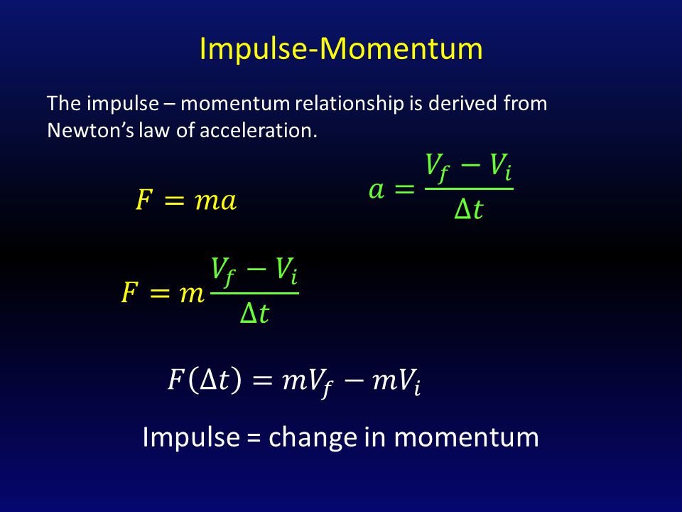 Impulse-Momentum 𝑎= 𝑉 𝑓 − 𝑉 𝑖 Δ𝑡 𝐹=𝑚𝑎 𝐹=𝑚 𝑉 𝑓 − 𝑉 𝑖 Δ𝑡