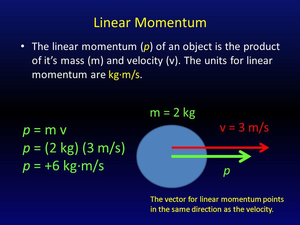Linear Momentum p = m v p = (2 kg) (3 m/s) p = +6 kg∙m/s m = 2 kg