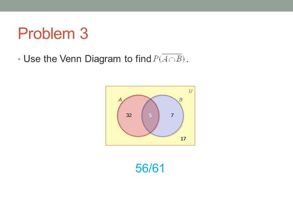 Problem 3 Use the Venn Diagram to find . 56/61
