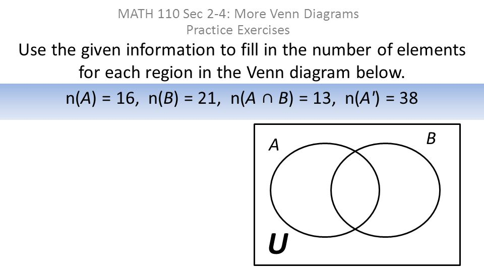 MATH 110 Sec 2-4: More Venn Diagrams Practice Exercises