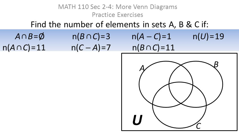 Find the number of elements in sets A, B & C if: