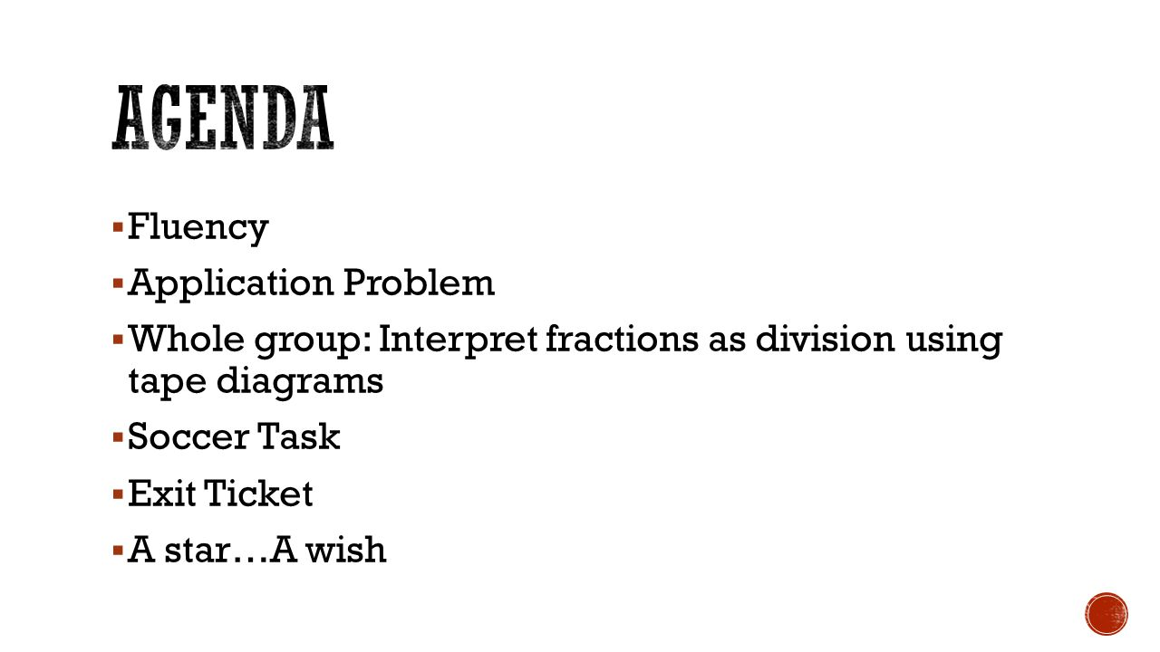 Agenda Fluency Application Problem