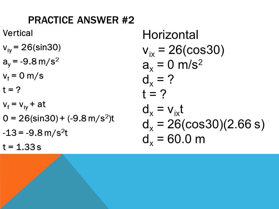 Horizontal vix = 26(cos30) ax = 0 m/s2 dx = t = dx = vixt
