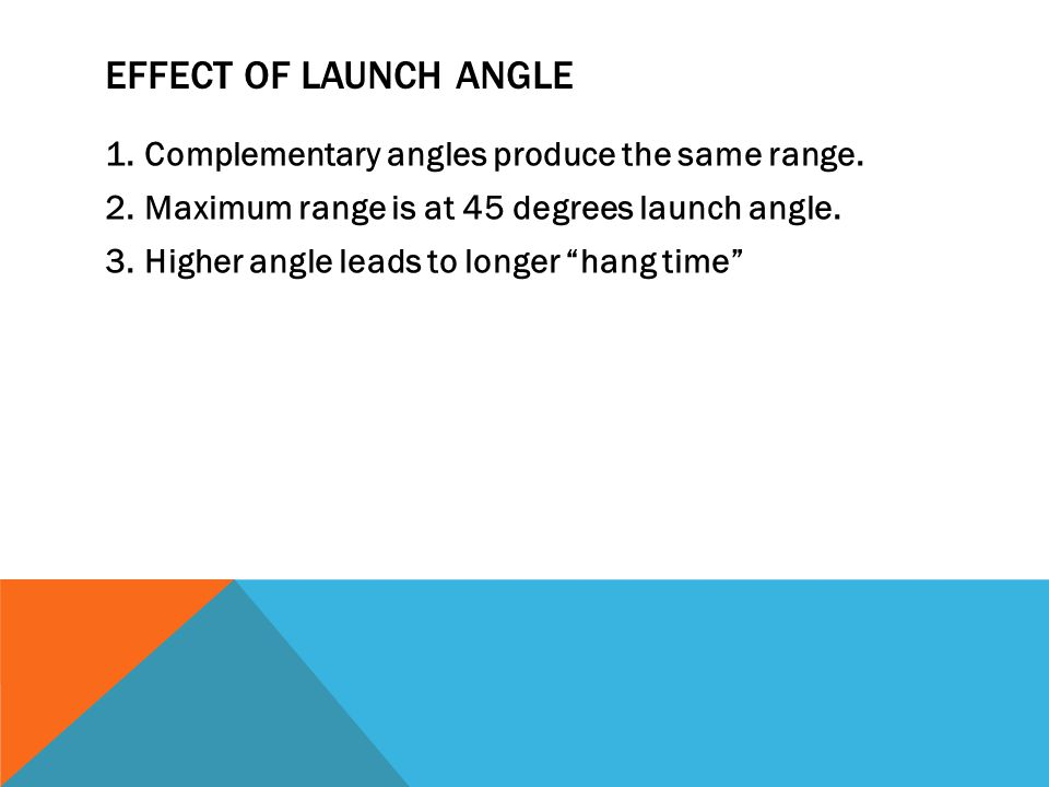 Effect of Launch Angle Complementary angles produce the same range.