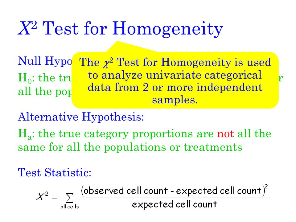 X2 Test for Homogeneity Null Hypothesis: