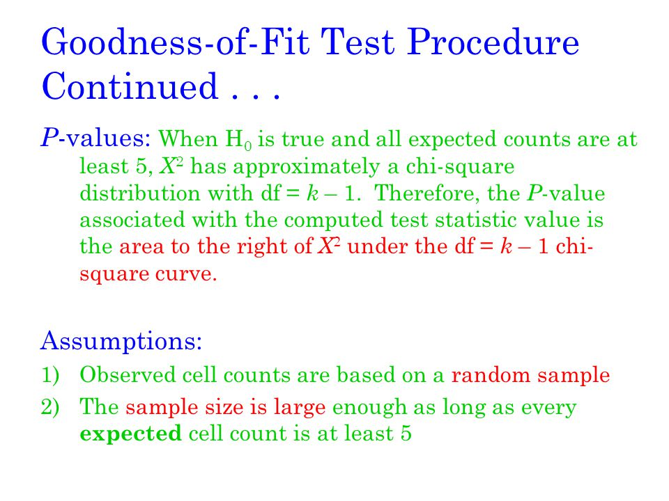 Goodness-of-Fit Test Procedure Continued . . .