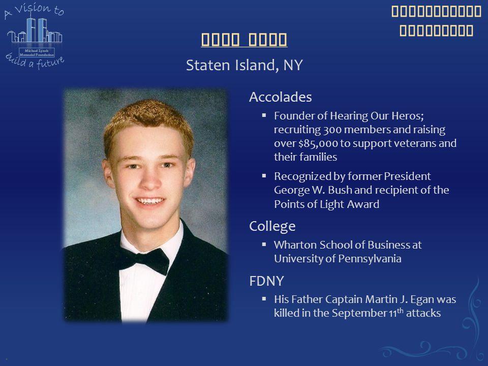 Sean Egan Staten Island, NY Accolades College FDNY .