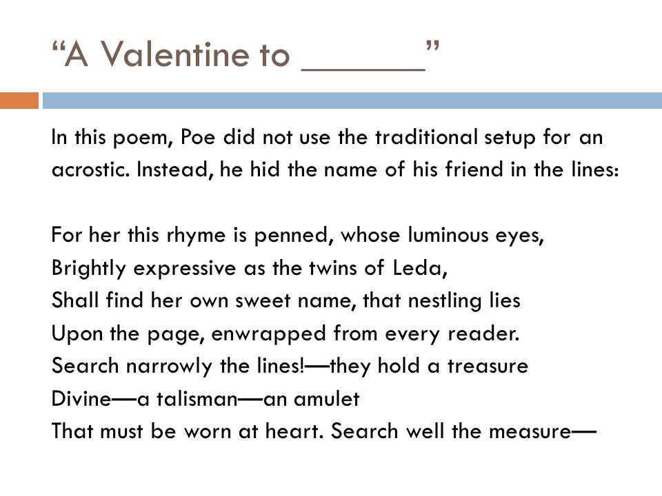 A Valentine to ______