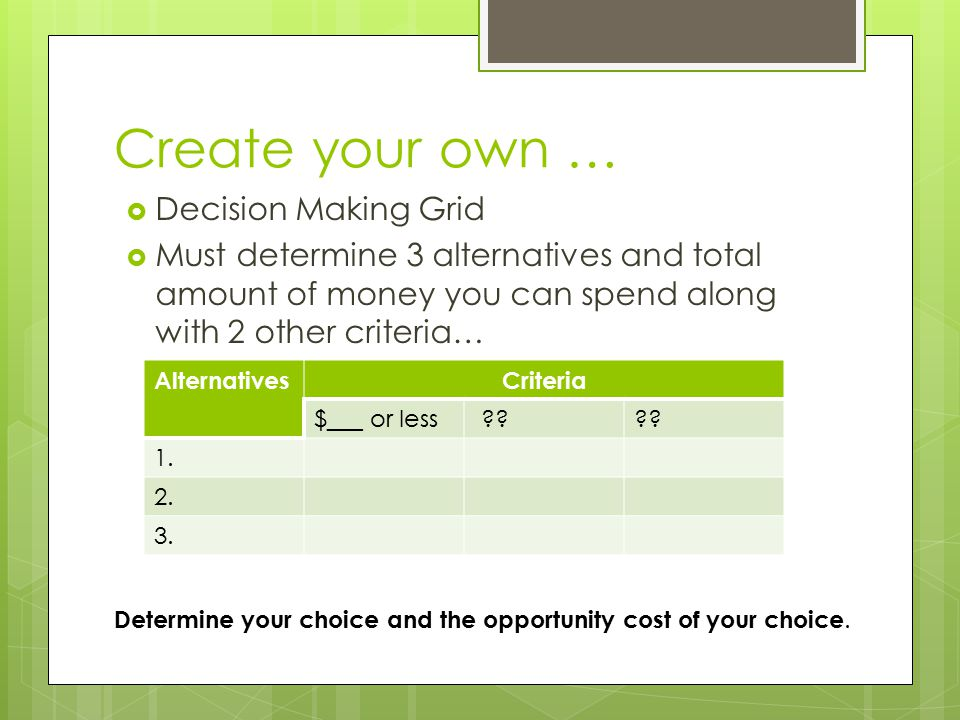 Create your own … Decision Making Grid
