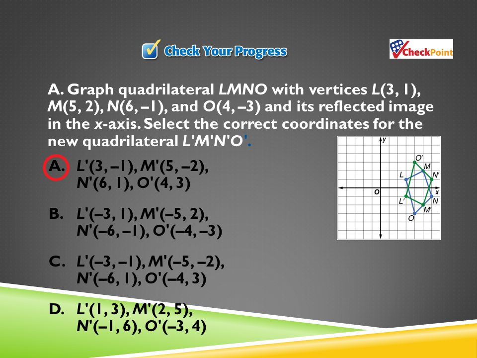 A. Graph quadrilateral LMNO with vertices L(3, 1), M(5, 2), N(6, –1), and O(4, –3) and its reflected image in the x-axis. Select the correct coordinates for the new quadrilateral L M N O .