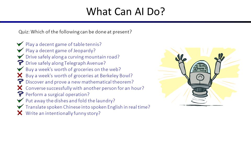 What Can AI Do Quiz: Which of the following can be done at present