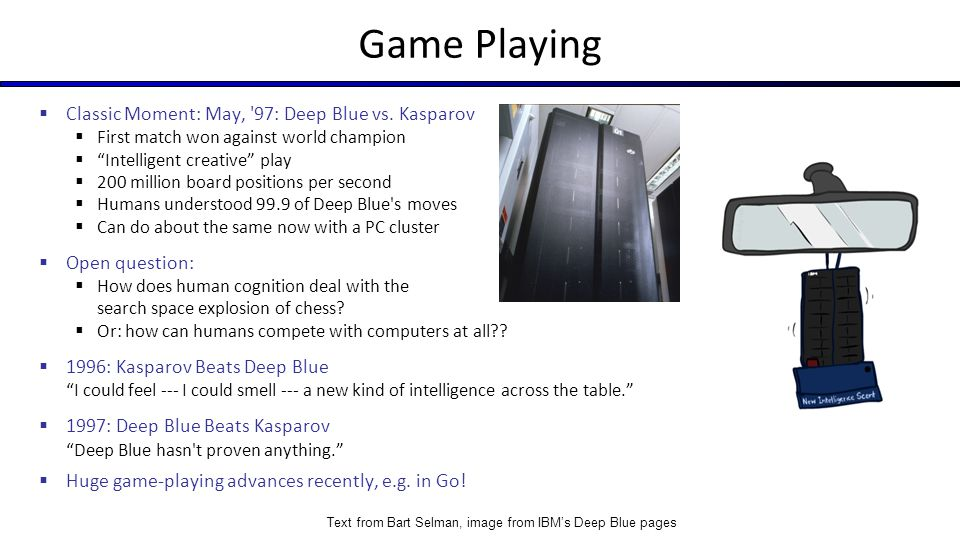 Game Playing Classic Moment: May, 97: Deep Blue vs. Kasparov