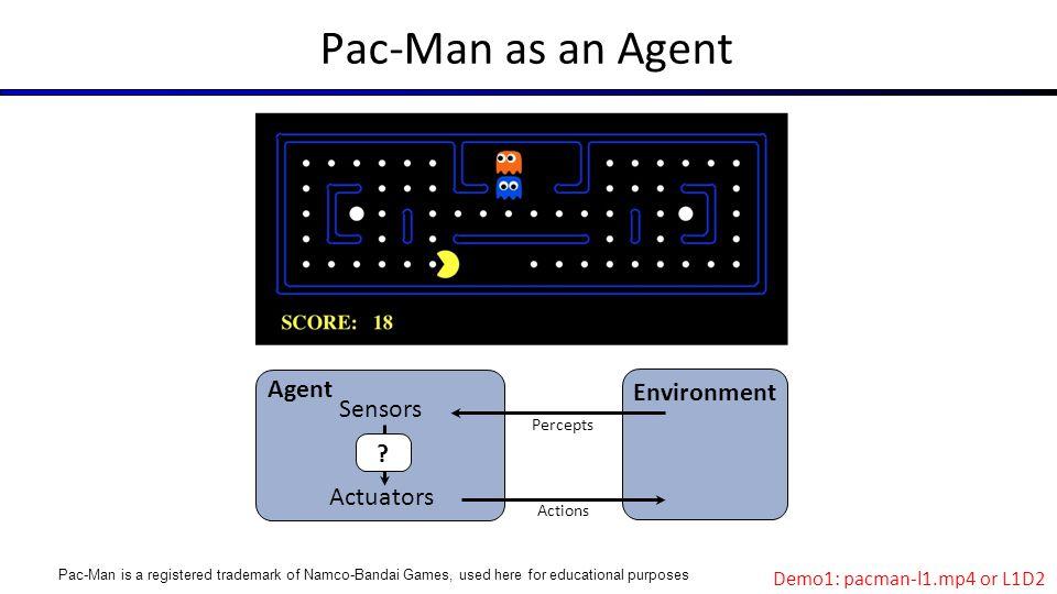 Pac-Man as an Agent Agent Environment Sensors Actuators