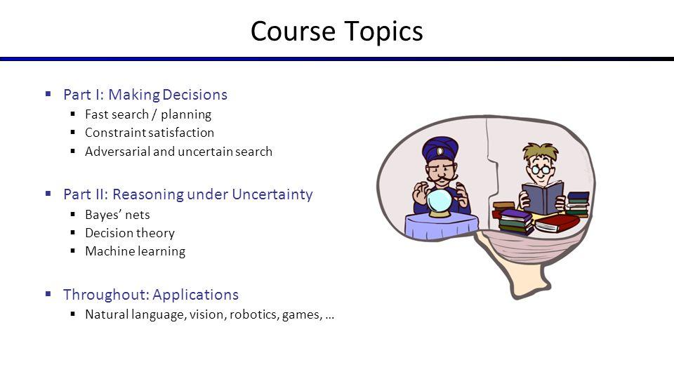 Course Topics Part I: Making Decisions