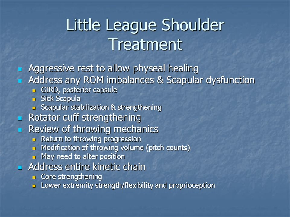 Little League Shoulder Treatment