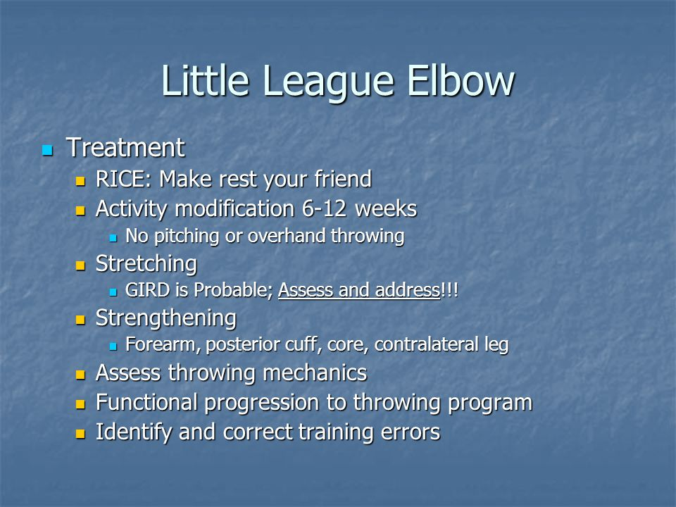 Little League Elbow Treatment RICE: Make rest your friend