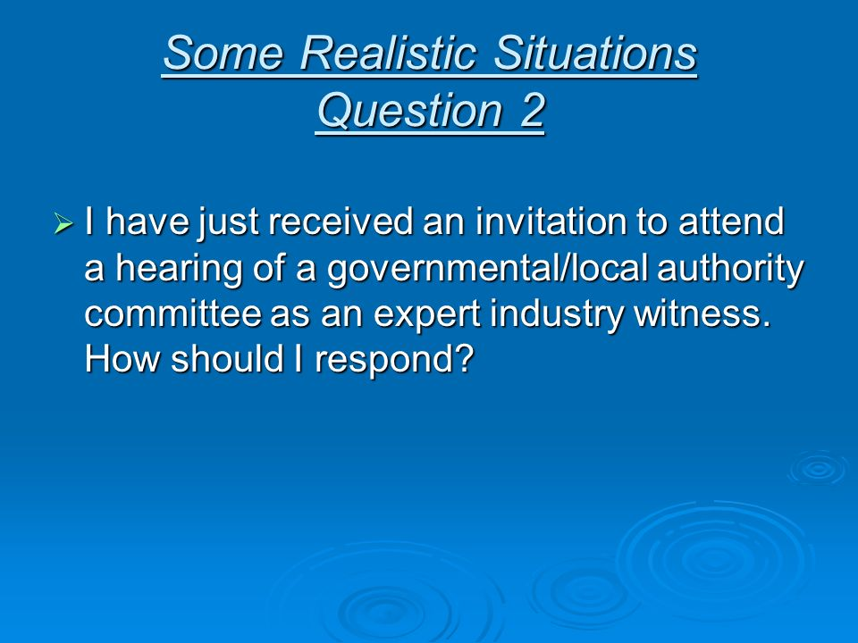 Some Realistic Situations Question 2