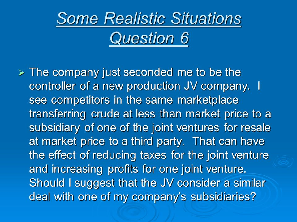 Some Realistic Situations Question 6