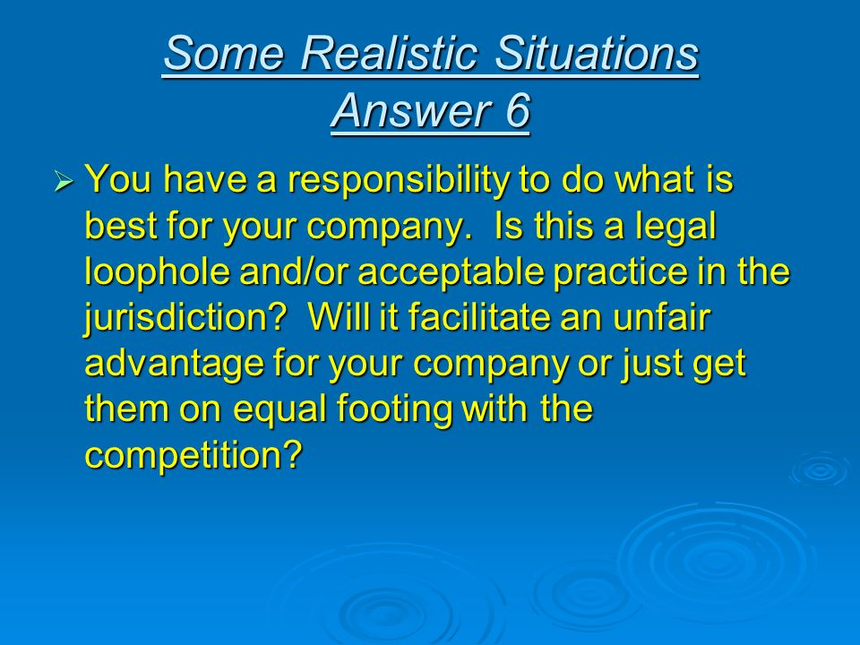 Some Realistic Situations Answer 6