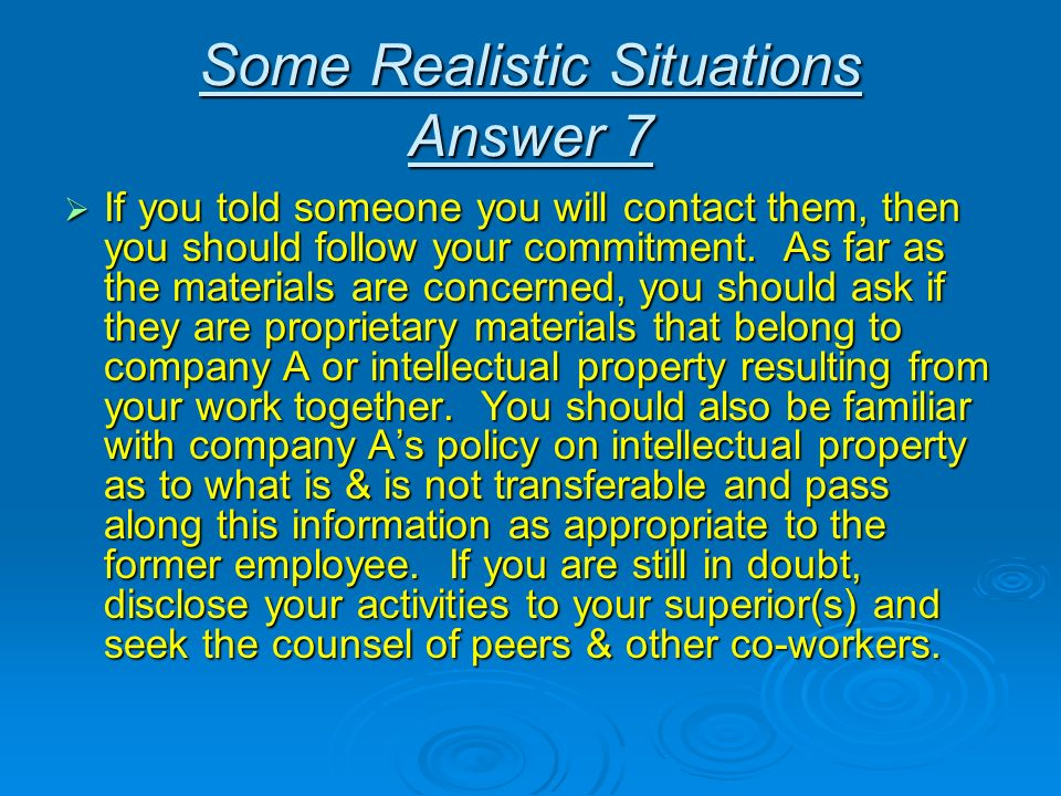 Some Realistic Situations Answer 7