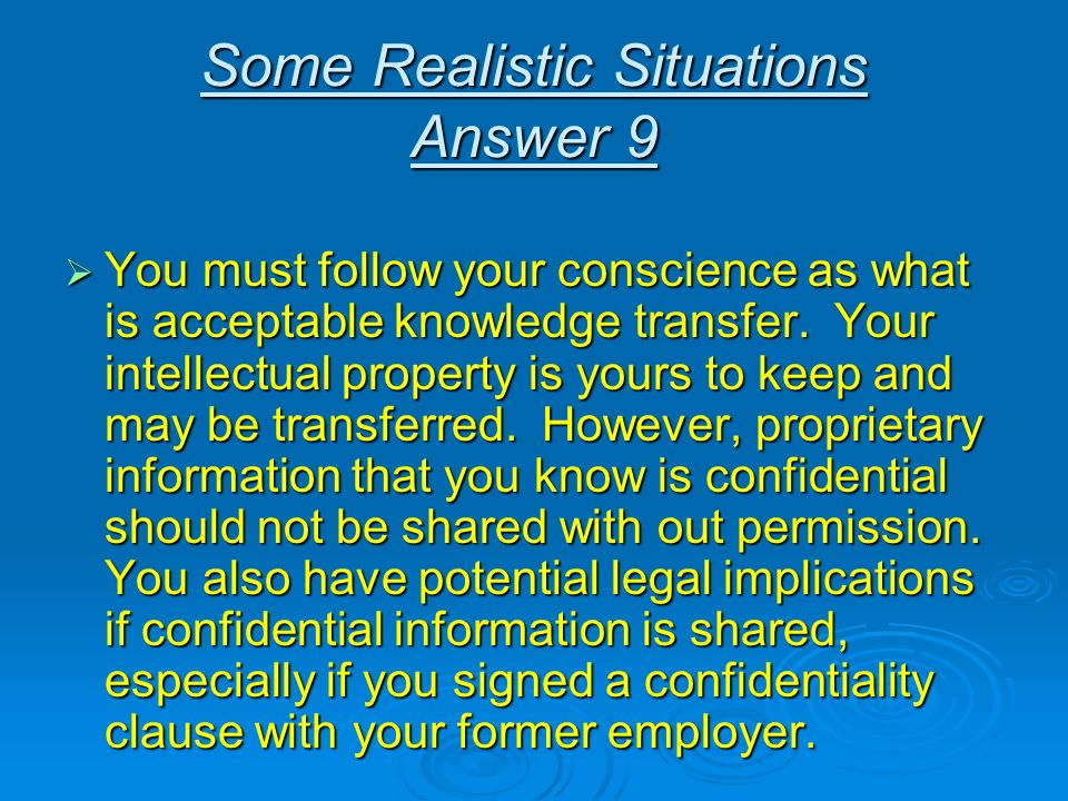 Some Realistic Situations Answer 9