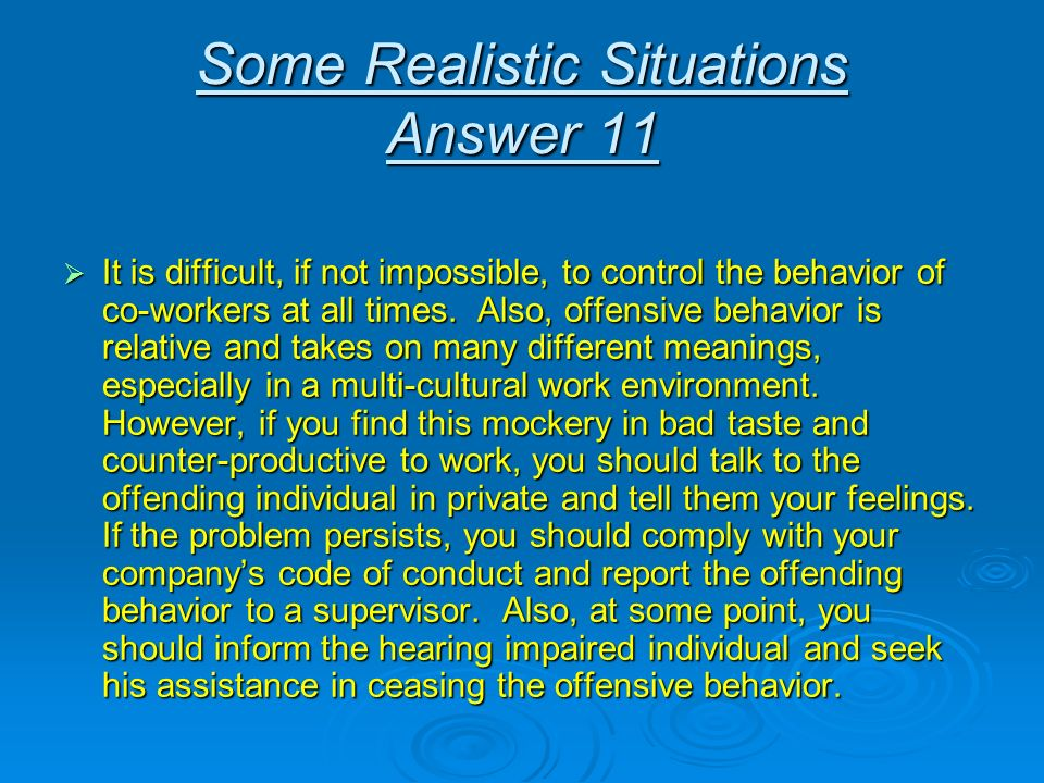 Some Realistic Situations Answer 11