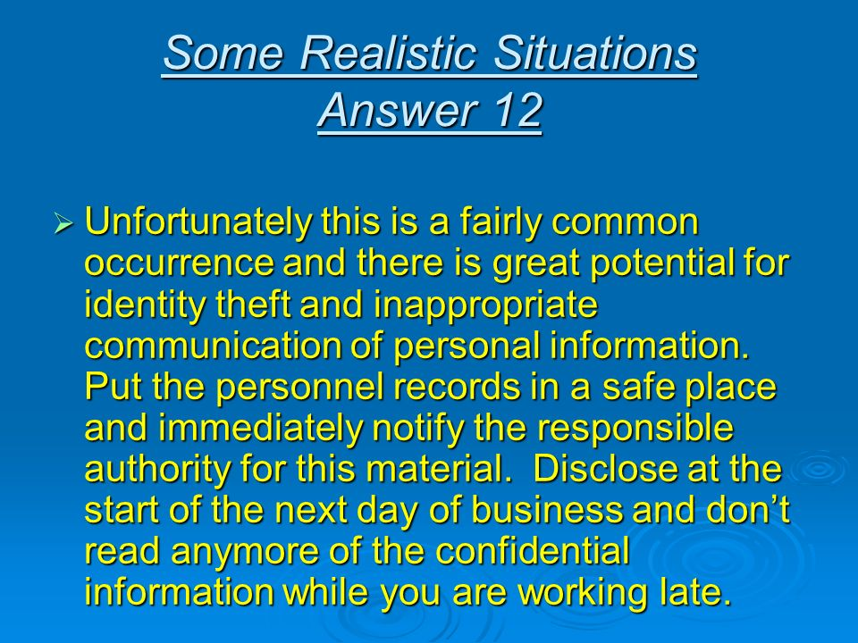 Some Realistic Situations Answer 12