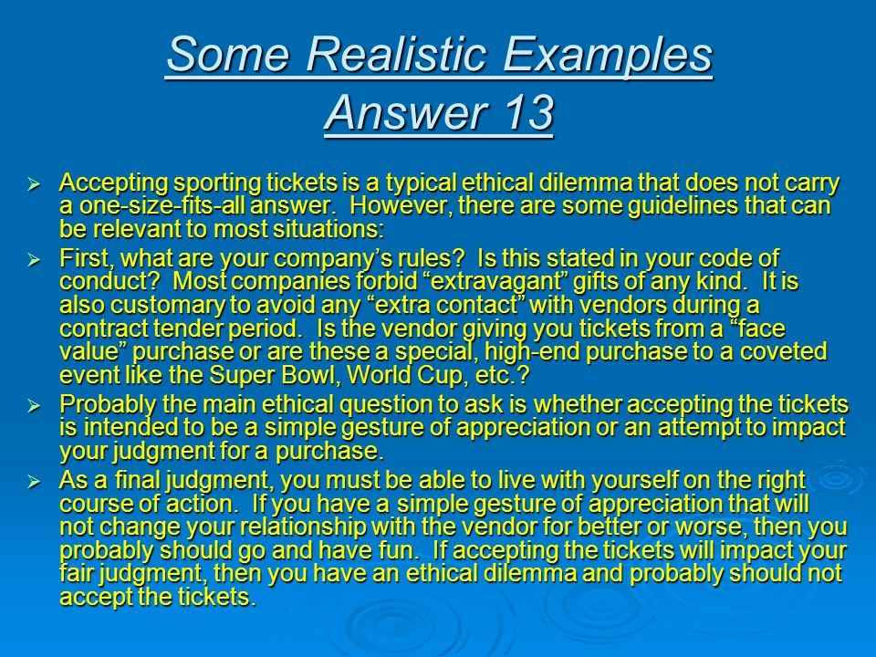 Some Realistic Examples Answer 13