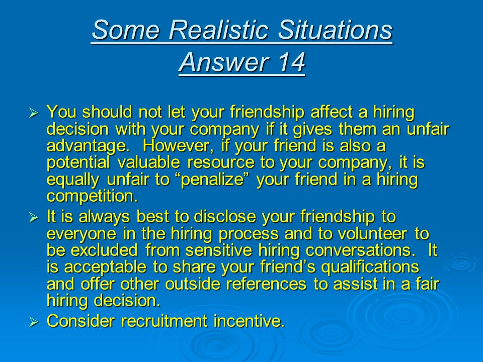 Some Realistic Situations Answer 14