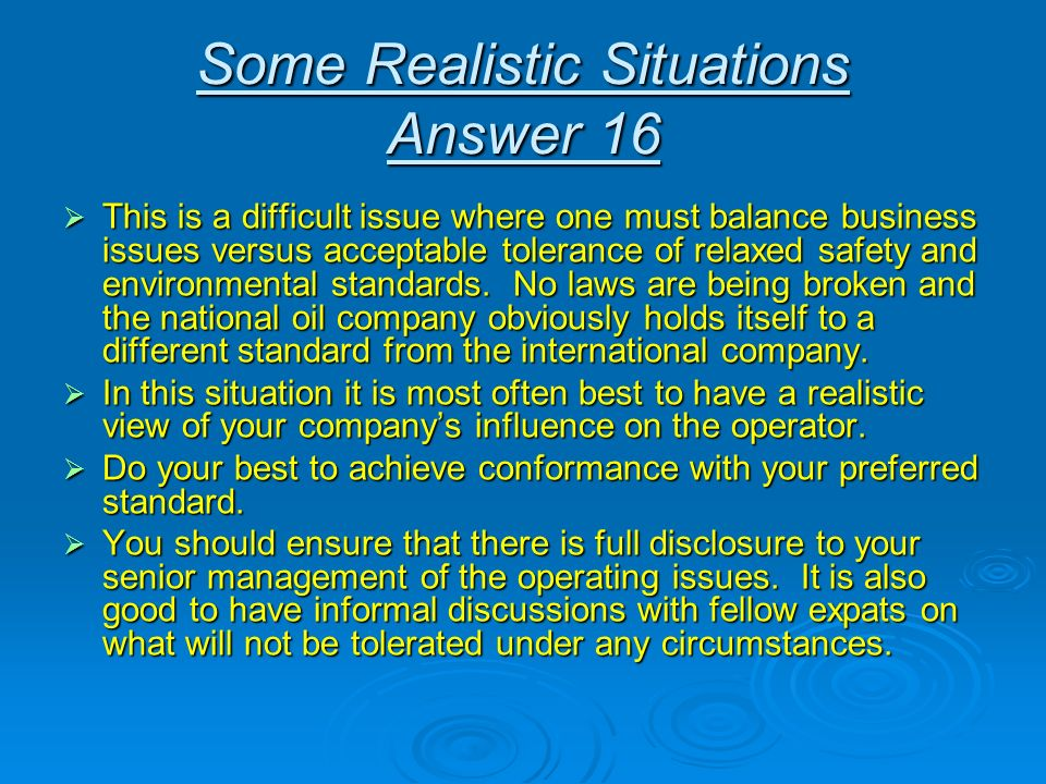 Some Realistic Situations Answer 16