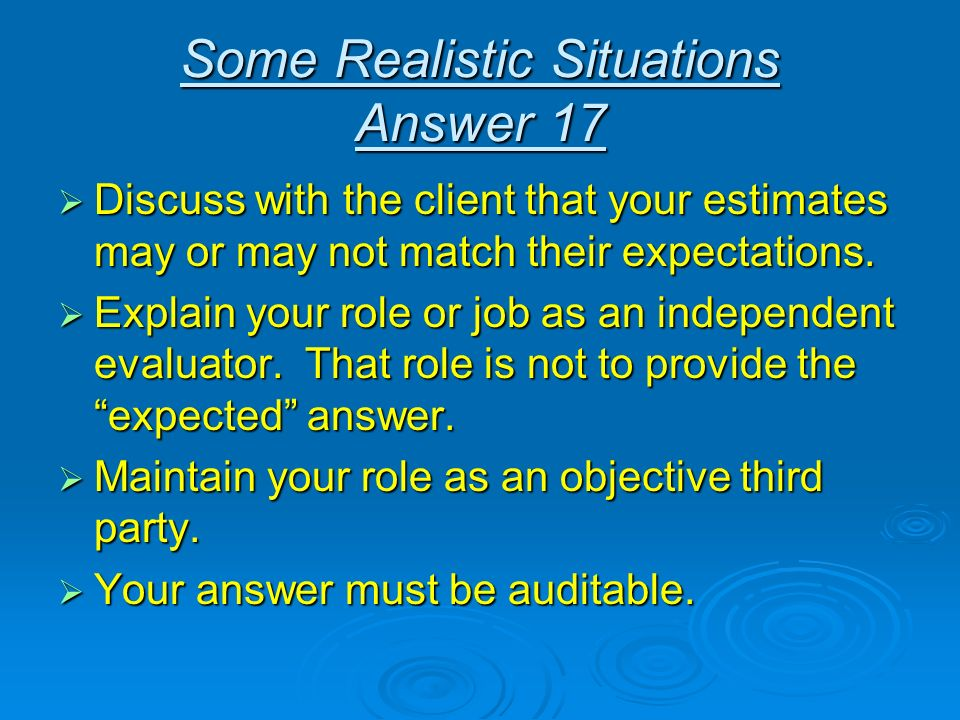 Some Realistic Situations Answer 17