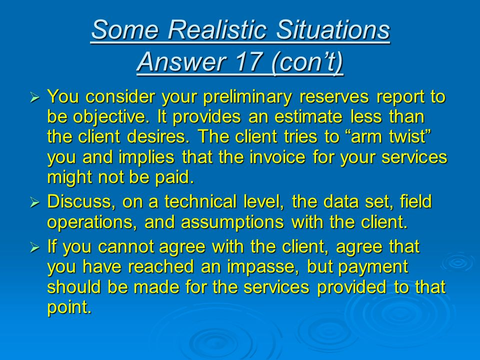 Some Realistic Situations Answer 17 (con't)