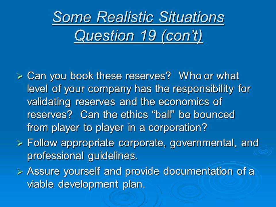 Some Realistic Situations Question 19 (con't)