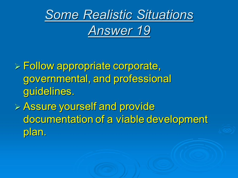 Some Realistic Situations Answer 19