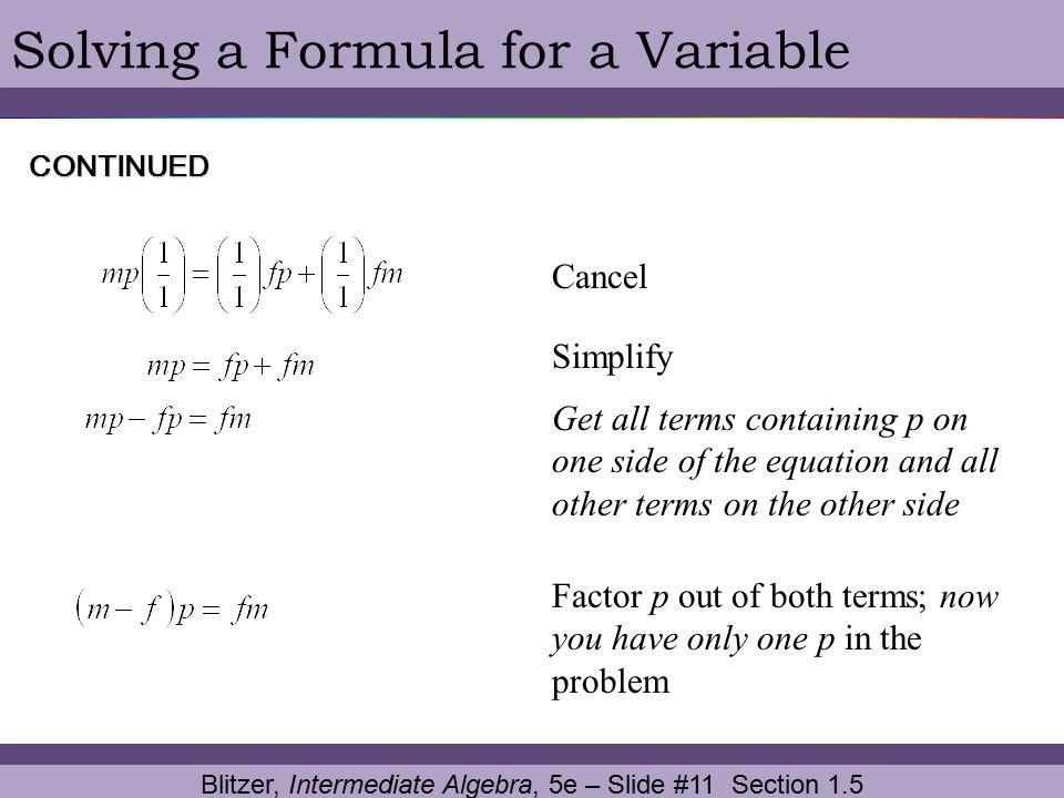 Blitzer, Intermediate Algebra, 5e – Slide #11 Section 1.5