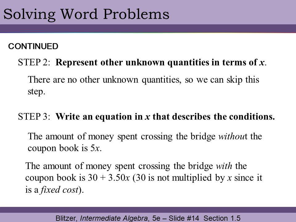 Blitzer, Intermediate Algebra, 5e – Slide #14 Section 1.5