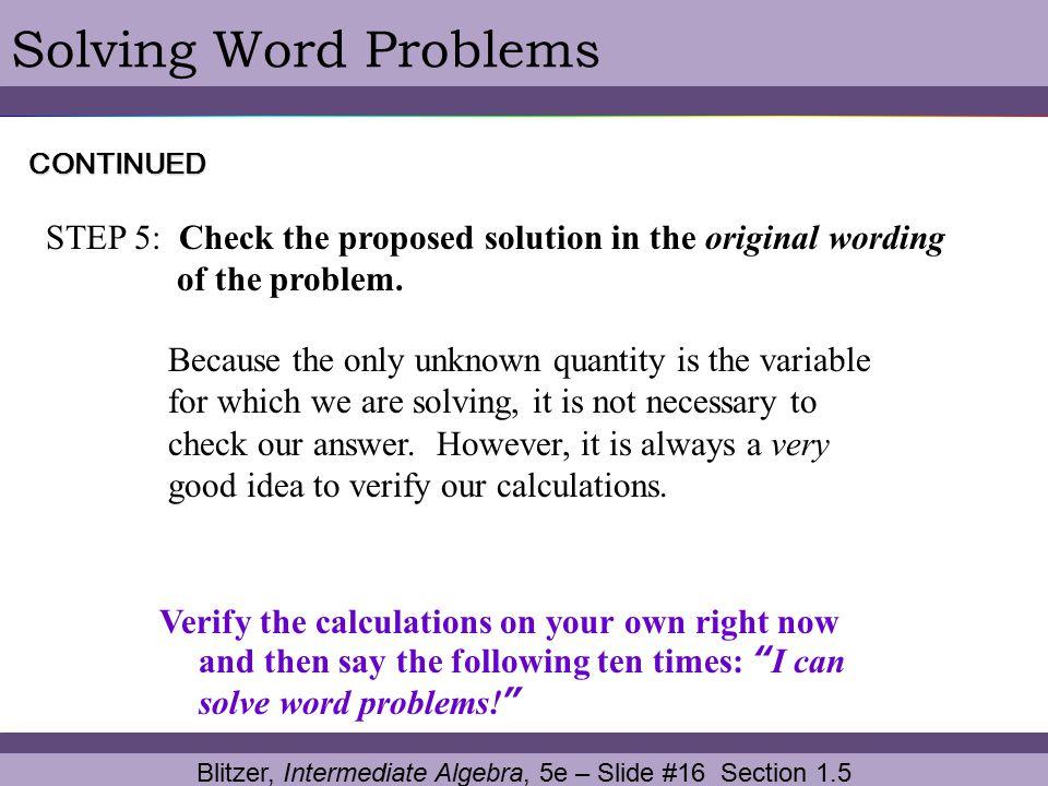 Blitzer, Intermediate Algebra, 5e – Slide #16 Section 1.5