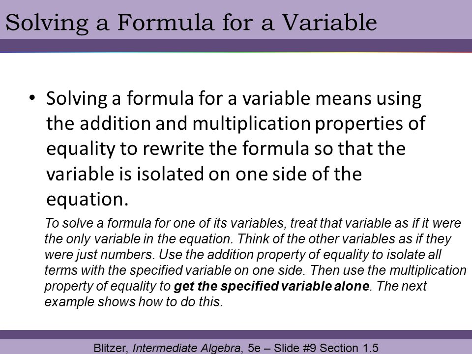 Blitzer, Intermediate Algebra, 5e – Slide #9 Section 1.5