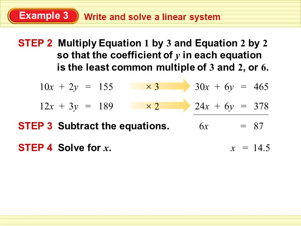 STEP 2 Multiply Equation 1 by 3 and Equation 2 by 2