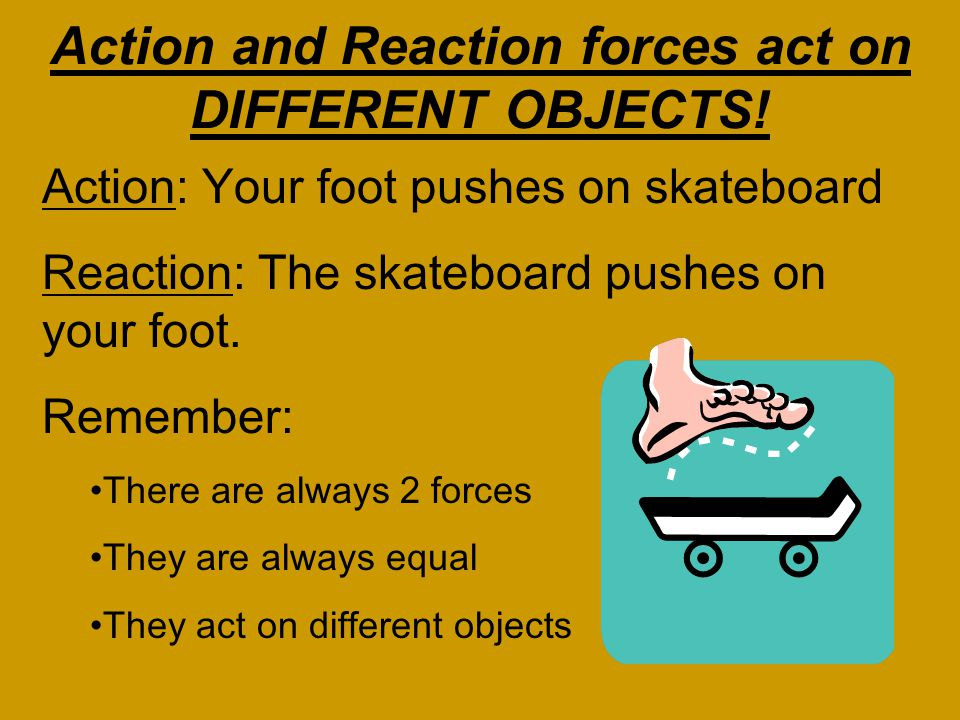 Action and Reaction forces act on DIFFERENT OBJECTS!