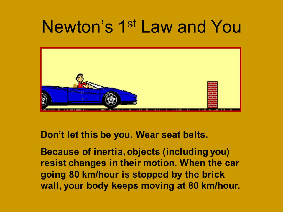 Newton's 1st Law and You Don't let this be you. Wear seat belts.