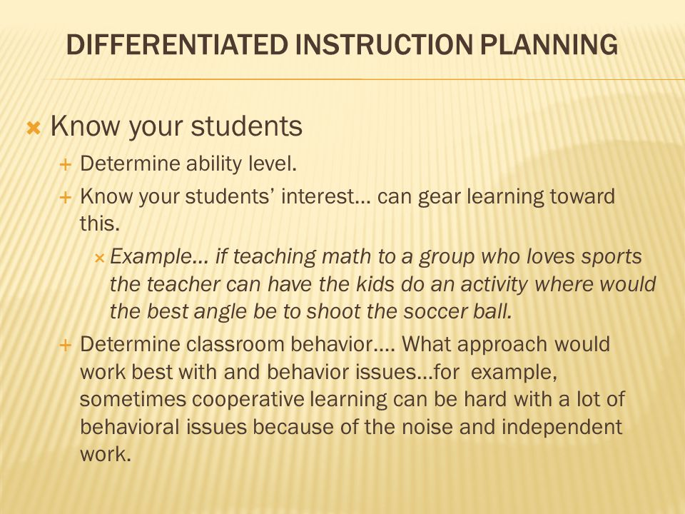 DIFFERENTIATED INSTRUCTION PLANNING
