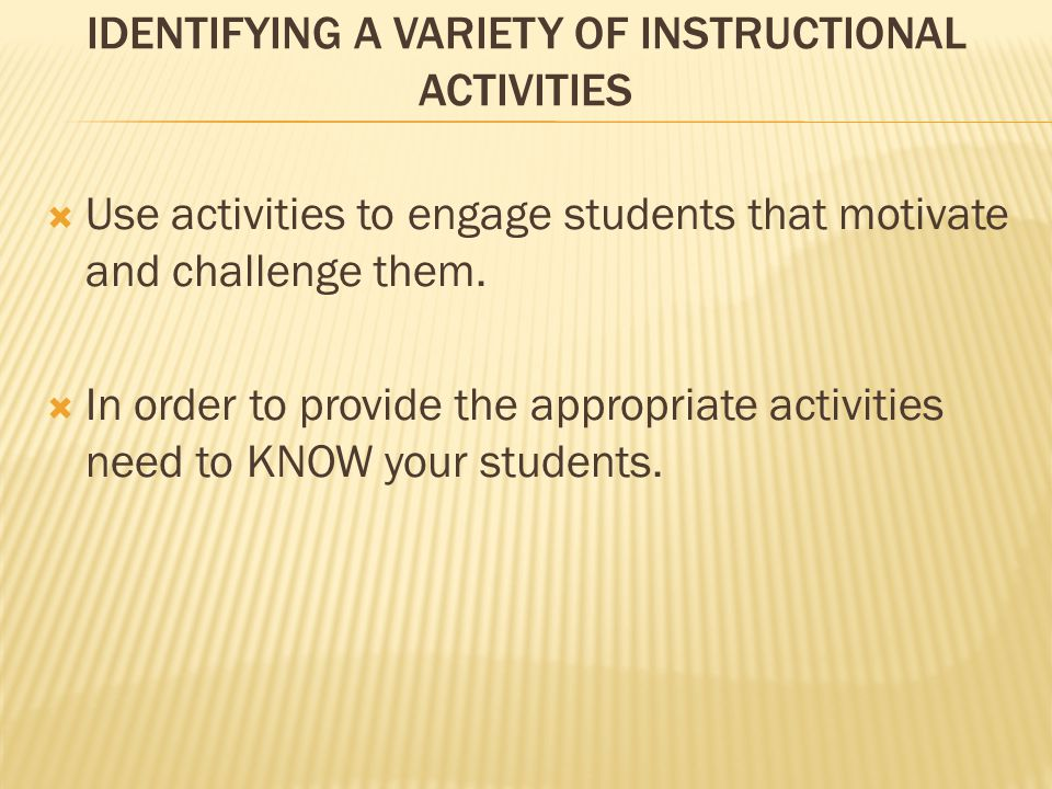 Identifying a variety of Instructional Activities